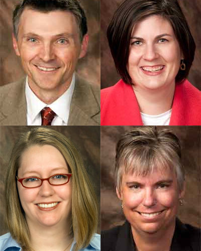 Top: Steve Estes and Dana Gautcher. Bottom: Kathryn Maley and Jeanne Meyer