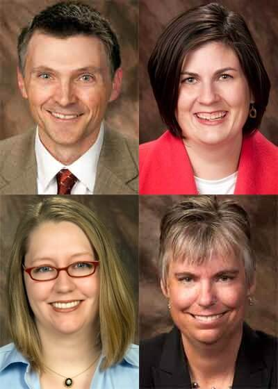 Top: Steve Estes and Dana Gautcher. Bottom: Kathryn Maley and Jeanne Meyer