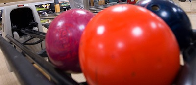 Photo of bowling balls at Huskies Den