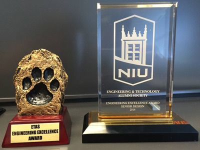 College of Engineering and Engineering Technology Senior Design Day trophies