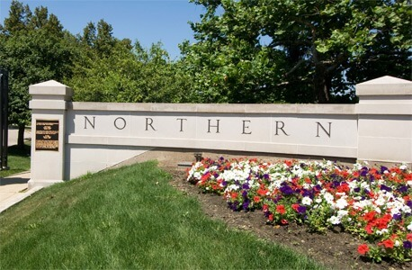 A photo of the NIU front gates