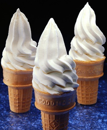 A photo of three ice cream cones