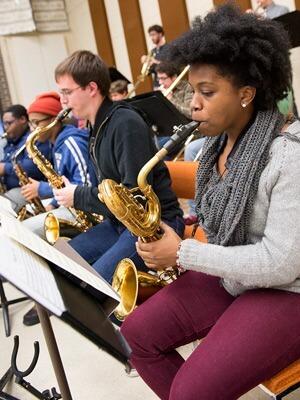 Photo of NIU Jazz Studies students playing saxophones