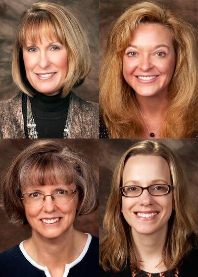 Top: Lisa Clark and Amy Deegan. Bottom: Patricia Lee and Liz Wright