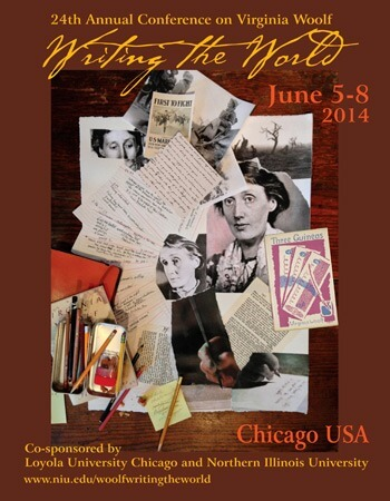 Official poster of the International Conference on Viriginia Woolf. Poster art and design by Chicago artists Ginny Sykes and Ruby Barnes.