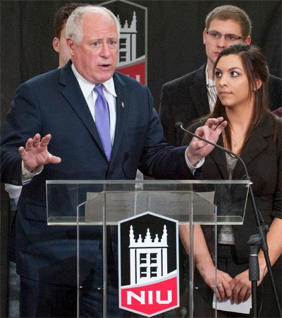 Gov. Pat Quinn and NIU student Michelle Romero