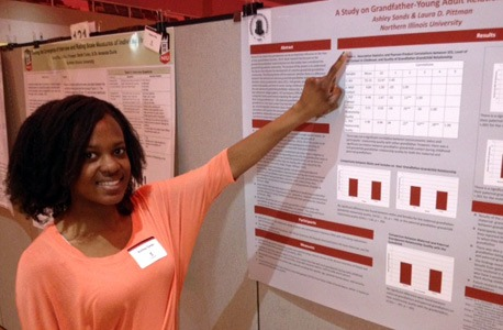 "University Honors student and Research Rookie Ashley Sands presented ""Grandfather-Young Adult Relationships."""