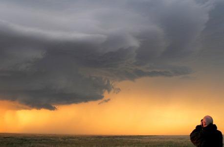 Photo of a storm watcher