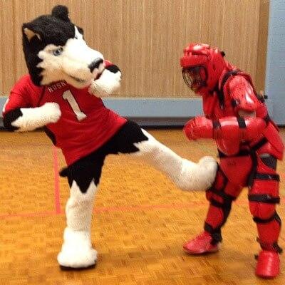 Victor E. Huskie practices self-defense.