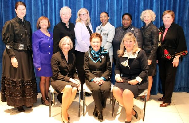 Standing (from left): Attorney Rachel Morse, Attorney Mary Petruchius (Committee Chair, ISBA Women and the Law), Justice Mary Jane W. Theis, attorney Jennifer K. Gust; Justice Joy V. Cunningham, Justice Shelvin Louise Marie Hall, Justice Anne M. Burke and Justice Susan F. Hutchinson. Seated (from left): Chief Judge Diane P. Wood, Chief Justice Rita B. Garman and ISBA President Paula Holderman.