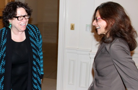 Justice Sonia Sotomayor talks with NIU Law Dean Jennifer Rosato Perea.