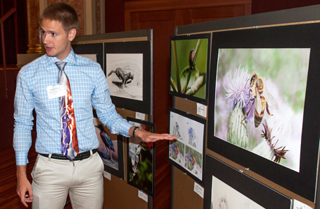 McKearn Summer Fellow Patrick Price presents his artwork at the 2013 Summer Research Symposium.