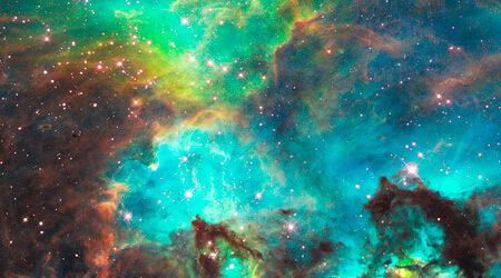 This NASA Hubble Telescope image captured the birth of stars in the Large Magellanic Cloud Galaxy, a near neighbor of the Milky Way.