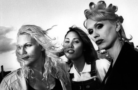 """Chloe, Kim, and Era, at the piers, NYC,"" photograph by Mariette Pathy Allen; early 1990s; from ""The Gender Frontier,"" 2003"