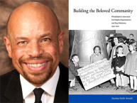 "Stanley Arnold and the book cover of ""Building the Beloved Community: Philadelphia's Interracial Civil Rights Organizations and Race Relations, 1930-1970"""