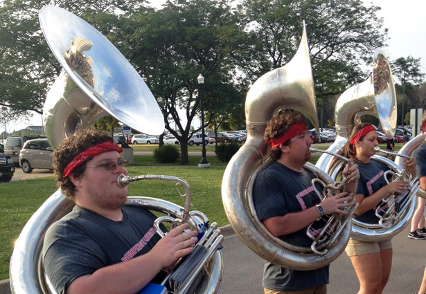 Huskie Marching Band sousaphone players