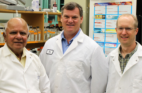 "NIU biologist Rangaswamy ""Nathan"" Meganathan and chemists Timothy Hagen and James Horn"