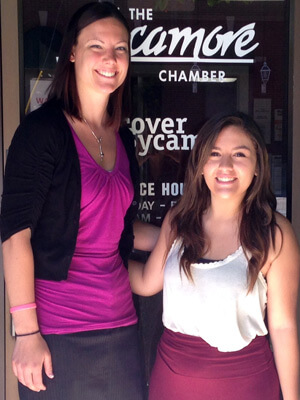 Jaclyn Cox (right) with her internship supervisor Katelyn Fogle outside the Sycamore Chamber of Commerce