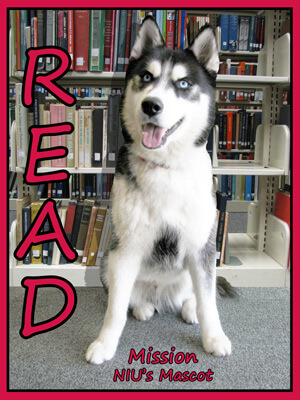 Poster of NIU mascot Mission in front of library books