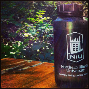 NIU-branded water bottle