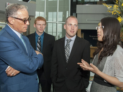 IMEX Bank Chair Fred hochberg engages with NIU students at the August 19 Global Access Forum at NIU-Rockford.