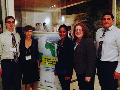 Jamison Thorne, Ashlyn Shellito, Anusha Ravva and Nicholas Thomson with Anna Quider (second from right) at the IPF conference at UNICAMP