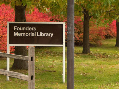 Founders Memorial Library sign