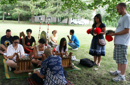 Instructor and gamelan master Ngurah Kertayuda, right, will be back with NIU's Balinese gamelan at this year's area studies open house.Instructor and gamelan master Ngurah Kertayuda, right, will be back with NIU's Balinese gamelan at this year's area studies open house.