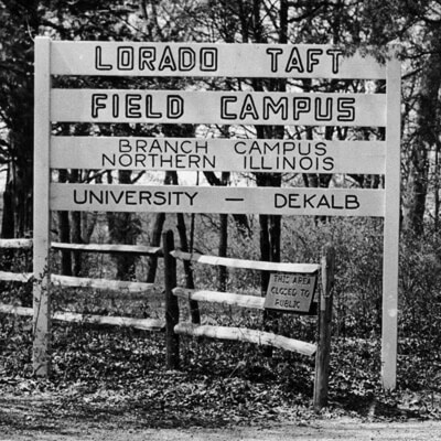 Lorado Taft Field Campus entrance / 1950s