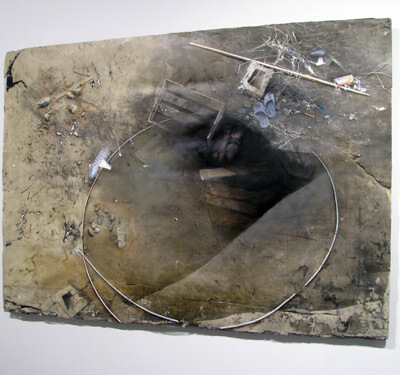 Elaine Spatz-Rabinowitz, Iraqi Ditch, 2005, oil on cast pigmented hydrocal, 48 x 67 x 2 inches