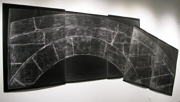 elin o'Hara slavick, Koko Bridge Reconstructed, 2009, silver-gelatin contact print of a frottage