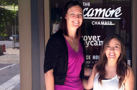 Jaclyn Cox (right) with her internship supervisor Katelyn Fogle outside the Sycamore Chamber of Commerce.