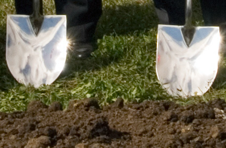 Photo of shovels at a groundbreaking