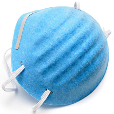 Photo of a blue germ mask