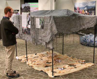 An NIU Anthropology Museum visitor looks at a burned tent from Haiti.