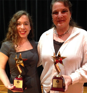 Gabriela Arriaga (left) and Jenna Jane, recipients of the 2014 Eli Whitney Award of Excellence