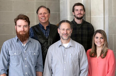 NIU geology department students and faculty participating in the WISSARD project include (left to right) Ph.D. candidate Tim Hodson, chief scientist Ross Powell, scientist Reed Scherer and graduate students Jason Coenen and Rebecca Puttkammer.