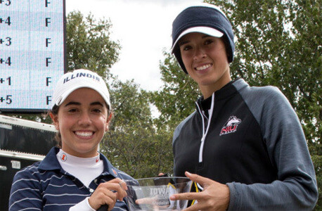 NIU's Lena Gautier (right) and Illinois' Dana Gattone