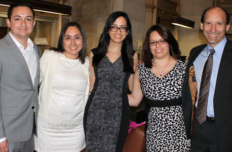 From left: Second-year students and Latino/a Law Student Association members Gilberto Ruiz, Alicia Ayala, Claudia Cisneros and Danesa Tamayostand with LLSA faculty adviserProfessor Robert Jones.