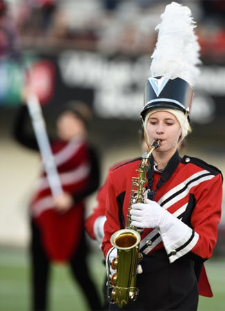NIU Huskie Marching Band saxophone player