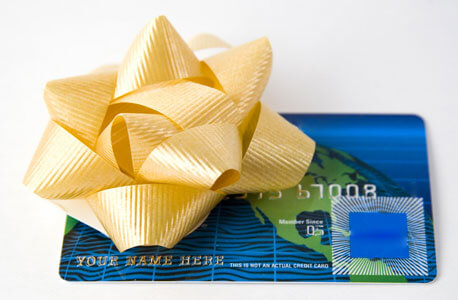 Photo of a credit card with a bow