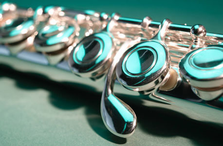 Close-up of flute keys