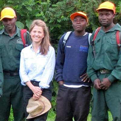 Joanna Lambert with colleagues in Uganda