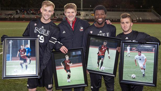 Congratulations, seniors: Dusty Page, Shawn Vroom, Isaac Kannah and Andrew Palumbo