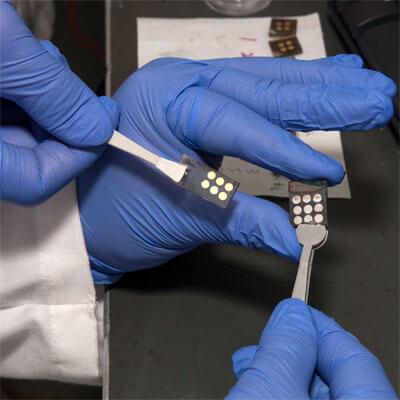 Solar cells under development in Tao Xu's laboratory.