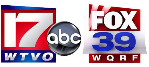 Logos of WTVO-17 and Fox 39 (WQRF)