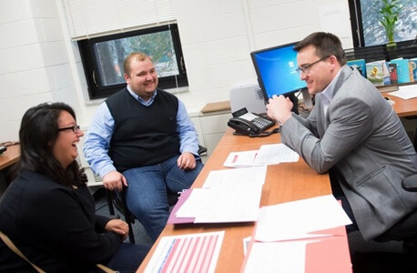 CLCE students Lizy Garcia and Mac Brock meet with Ben Bingle.