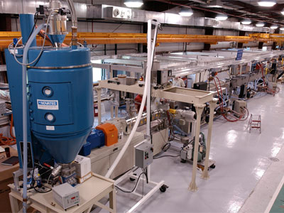 The plastic scintillator extrusion line, shown here, produces detector material for export to experiments around the world. Photo: Reidar Hahn