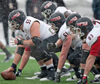 Center Andrew Ness and the Huskie offensive line