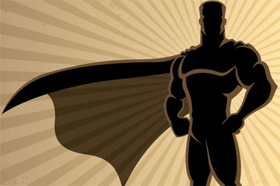 Silhouette of a superhero